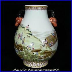 10.8 Qing Qianlong Chinese Famille rose Porcelain Human story Deer Zun Vase