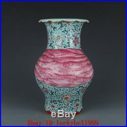 11.6 Old Qianlong marked famille rose Porcelain hand painting Ribbon lotus vase