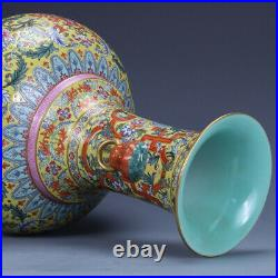 12.9 old chinese porcelain Qing dynasty qianlong mark famille rose lotus vase