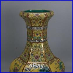12 China antique Porcelain Qing qianlong yellow famille rose flower bird vase