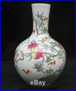 13.6 Qianlong Marked Old Chinese Famille Rose Porcelain Peach Bat Bottle Vase