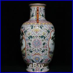 16.4 Qianlong Marked China Famille Rose Porcelain Crane Deer Flower Bottle Vase