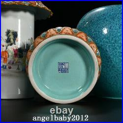 16.9 Qing dynasty qianlong mark Porcelain famille rose flower elephant ear Vase