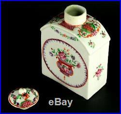 1735-1796 QIANLONG Qing Chinese Fine Porcelain Tea Caddy Famille Rose Mandarin