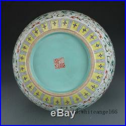 18 China old Porcelain Qing qianlong Mark famille rose gilt Twining Lotus vase
