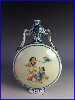 18C Qianlong, Chinese Blue & White Famille-rose moon flask vase with figures