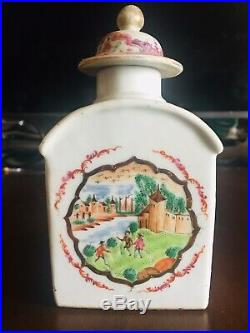 18th C Chinese Qianlong Porcelain Famille Rose Tea Caddy with Original Cover (2)