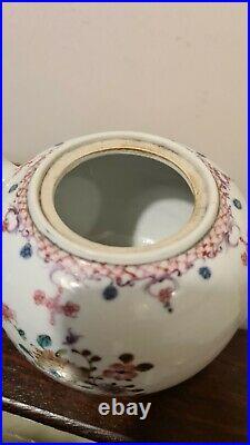 18th Century Chinese Qianlong Famille Rose Export Porcelain Tea Pot KINTSUGI