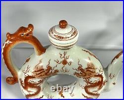 18th to 19th Century Qianlong Famille Rose Dragon Circle Qing Dynasty Teapot