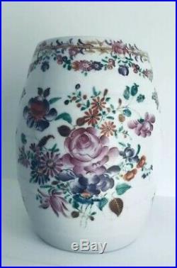 18thc Chinese Export PORCELAIN Famille Rose Porcelain Barrel Mug Qianlong 1790