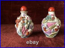 2 Antique Chinese Qing Qianlong Famille Rose 18 Immortal Porcelain Snuff Bottle