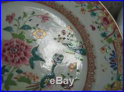 2nd Superb! Chinese Qianlong porcelain Famille Rose plate, twin peacocks 1775