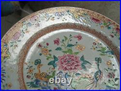 2nd Superb! Qianlong porcelain Famille Rose plate, twin peacocks 1775
