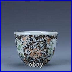 3.1 pair Old porcelain qing dynasty qianlong mark famille rose flower bird cup