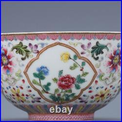 4.9 old China porcelain qing dynasty qianlong mark famille rose flower bowl