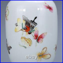 5.5 old China porcelain qing dynasty qianlong mark famille rose butterfly pot