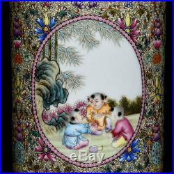 5 Qianlong Marked Old China Famille Rose Porcelain Tongzi Brush Pot Pencil Vase