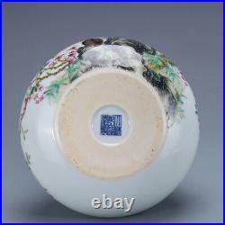 6.2 old china porcelain Qing dynasty qianlong mark famille rose flower bird pot