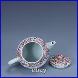 7.2 Old China porcelain qing dynasty qianlong mark famille rose flower teapot