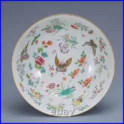 7.8 old porcelain Qing dynasty qianlong mark famille rose butterfly flower bowl