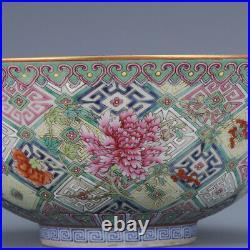 7.8 old porcelain qing dynasty qianlong mark famille rose flower plants bowl
