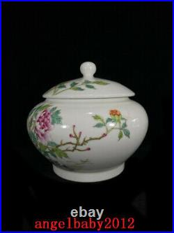 8.7 Chinese Porcelain qing dynasty qianlong A pair famille rose peony Jar pot