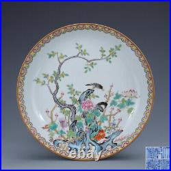9.2 Antique Old China porcelain qianlong mark famille rose flower bird plate