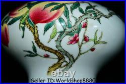 9.2 Qianlong Marked China Dynasty Famile Rose Porcelain Peach Bottle Vase Pair