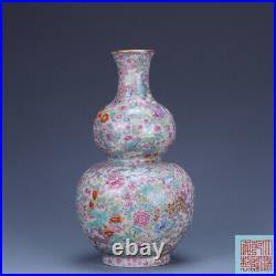 9.2 old porcelain Qing dynasty qianlong mark famille rose Flowers gourd vase