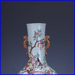 9 old China porcelain Qing dynasty qianlong mark famille rose flower bird vase