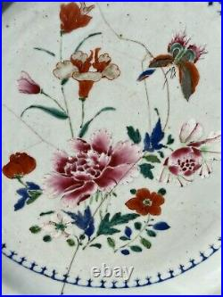 A 34 cm Huge Chinese Famille Rose Porcelain Plate Rare Butterfly Motive Qianlong