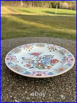 A Antique 18th c. Chinese Famille Rose Deer Plate Qianlong Period