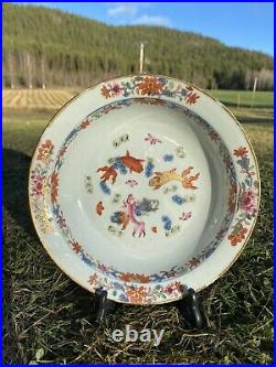 A Antique Chinese Carp Bowl-Plate Famille Rose Porcelain Qianlong Period
