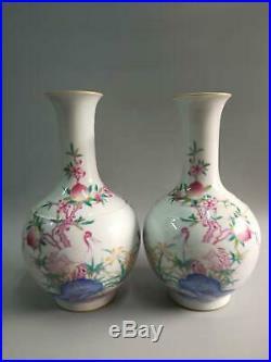 A Pair Of Chinese Famille Rose Porcelain Landscape Vases Bottle Marks QianLong