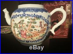 A Rare&fine Blue/white Famille-rose' Figures' Teapot, 18th Century Qianlong