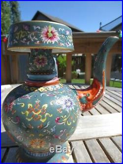 A Superb Chinese Famille Rose Porcelain Pot, QianLong Mark, But 19/20th