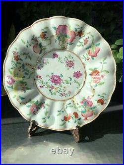 An Excellent Rare Chinese 18thC Qianlong Period Famille Rose Sanduo' Plate