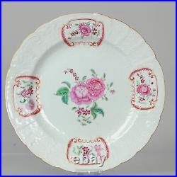Antique 18C Famille Rose Dish with Meissen Style Qianlong Decoration