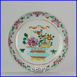 Antique 18th C Famille Rose Flower plate Qing Qianlong Period SE Asian M