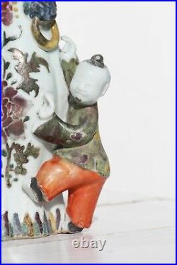 Antique 18th Century Qianlong Porcelain Wall Pocket Vase, Famille Rose, Chinese