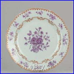 Antique Chinese 18C Qianlong Famille Purple Flower Plate