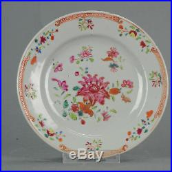Antique Chinese 18C Qianlong Famille Rose Porridge Plate Flowers Lowesto