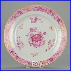 Antique Chinese 18C Qianlong Unusual Famille Rose Plate Gold Enamel zh