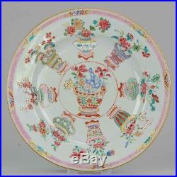 Antique Chinese 18C Yongzheng Qianlong Famille Rose Plate Flower Basket