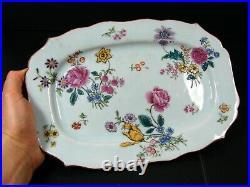 Antique Chinese Export Famille Rose Fine Porcelain Platter Qianlong Period