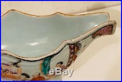 Antique Chinese Export Famille Rose Qianlong Mandarin Gravy Boat 9 inch
