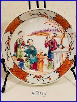 Antique Chinese Export Mandarin Qianlong Period Plates Famille Rose