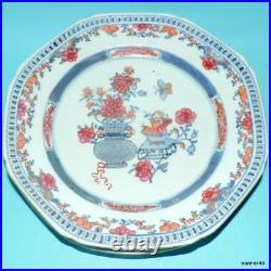 Antique Chinese Export Porcelain Famille Rose Qianlong Clobbered Ware Plates