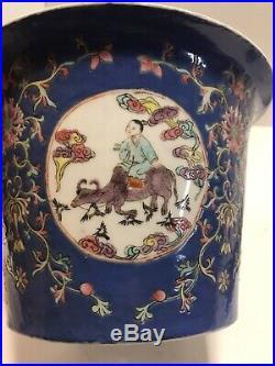 Antique Chinese Famille Rose Porcelain Qianlong 5.5 Pot Planter & Saucer