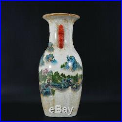 Antique Chinese Famille Rose Vase Landscape Crackle Collection QianLong Marks US